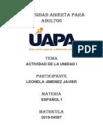 Leonela Jimenez Javier, Actividad i de Español i.