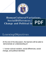 Lesson 1 Human Cultural Variations Social Differences Social Change and Political Identities
