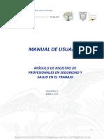 Manual de Registro de Profesionales en Seguridd y Salud en El Trabajo V_2 18102018