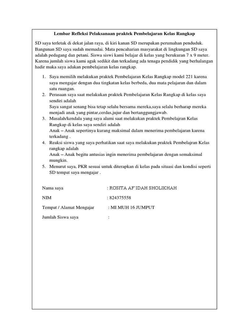 Lembar Refleksi Kelas Rangkap Docx