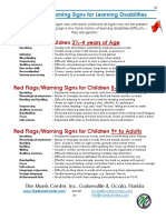 warning signs for reading disabilities