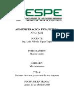 Factores Internos y Externos de Empresas Admi