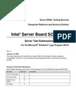Intel Server Board SCB2 SCSI Server Test Submission (STS) Report for the Microsoft Windows Logo Program (WLP) [Scb2scsi_sts_report_rev11