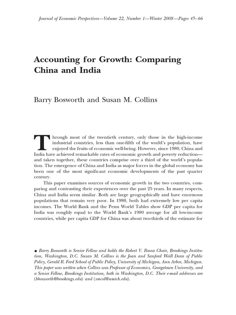 Accounting For Growth Comparing China and India  Economic Growth