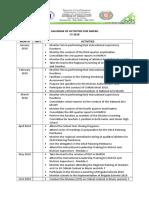 Calendar of Activities for MAPEH 2018