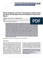 Market Integration and Price Transmission between Rural and Urban Oil and Raphia Palm Wine Markets in South East, Nigeria