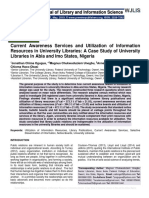 Current Awareness Services and Utilization of Information Resources in University Libraries