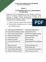 Programa Izada Bandera Independencia Cartagena
