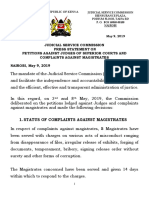 The Press Statement by Jsc on Petitions Against Judges and Magistrates