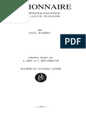 Dictionnaire Le Petit Robert Pdf Définition Nom Grammaire
