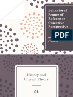 Behavior frame of reference for psychiatry occupational therapy