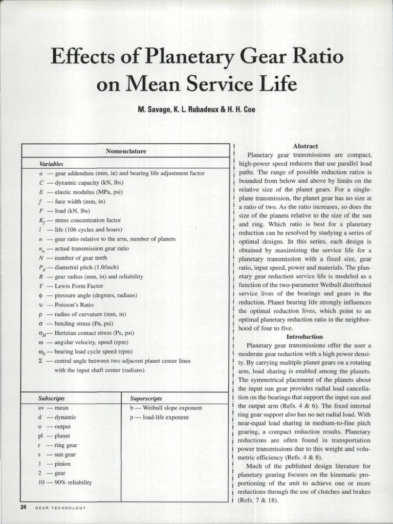Effects Of Planetary Gear Ratio On Mean Service Life