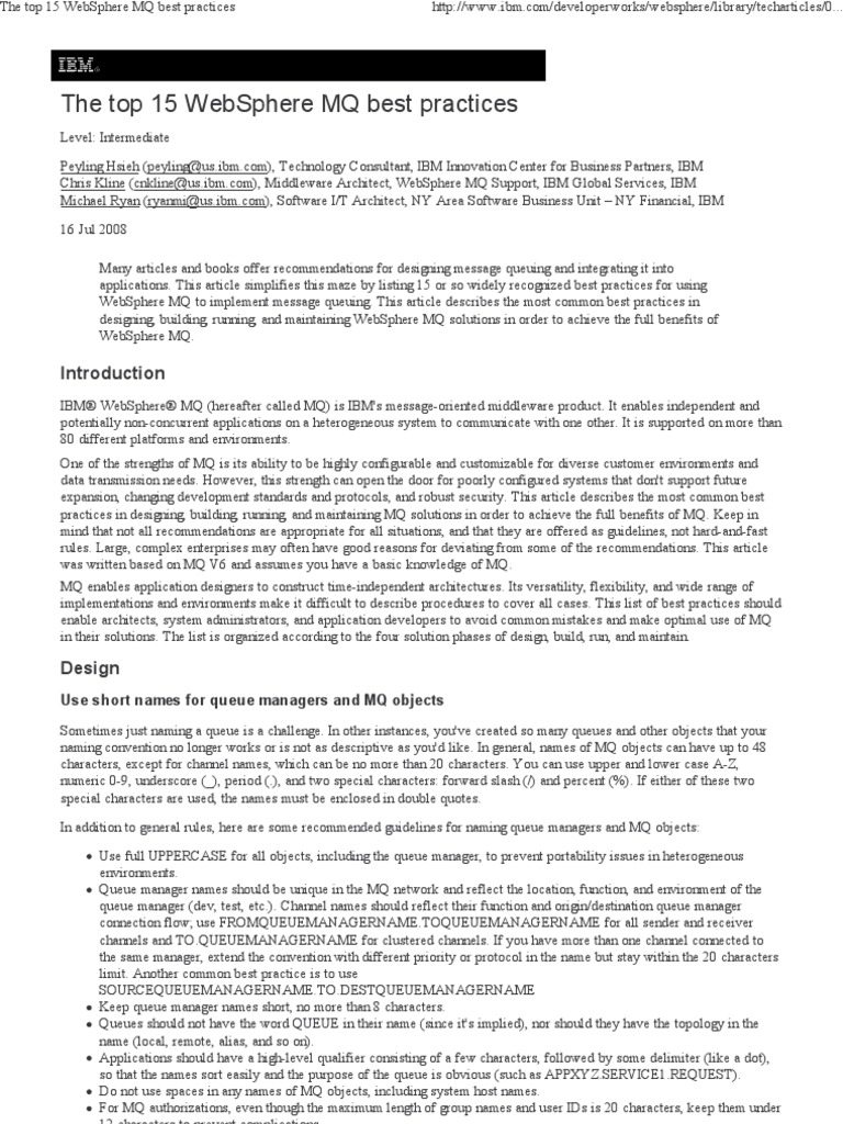The Top 15 WebSphere MQ Best Practises Information Technology - Websphere Message Broker Cover Letter