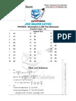 JEE Mains Kinematics in 2D_Sol-1_ezyexamsolution