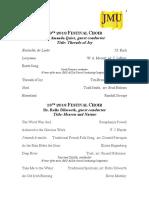Website Rep List Jmu Choralfest Repertoire List