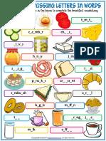 Breakfast Vocabulary Esl Missing Letters in Words Worksheet for Kids