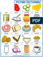 Breakfast Vocabulary Esl Picture Dictionary Worksheet for Kids