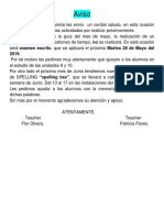 aviso de actividades  de 3° prim.  mayo - junio 2019