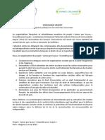 Communiqué_attentat Leaders Sociaux Nord Du Cauca_Colombie