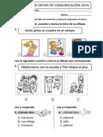 EXAMEN DE ENTRADA DE COMPRENSION LECTORA 2°