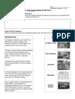 War Front World War One Gallery Walk Classwork Sheet