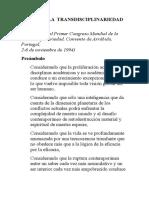 Morín. E. Carta de La Transdisciplinareidad.