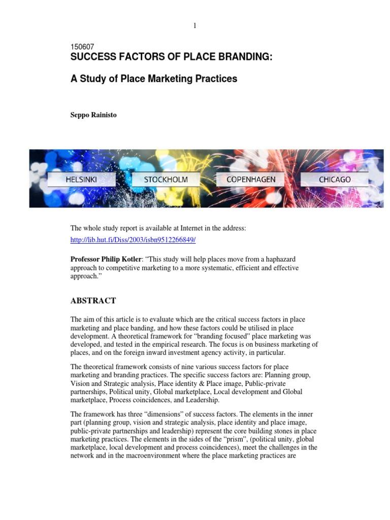 Success Factors Model Of Place Marketing | Brand | Marketing