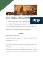 Homilia Para La Fiesta de Todos Los Santos de La Orden Seráfica - Fray Michael a. Perry, OfM