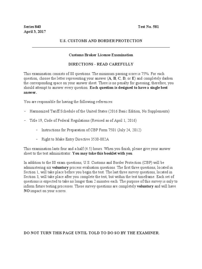 Copy of April 2017 Broker Exam | U S  Customs And Border Protection