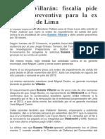 Fiscalía Pide Prisión Preventiva Contra Susana Villarán