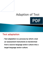 1 Adaption of Test
