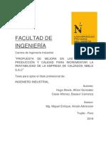 """""""PROPUESTA DE MEJORA EN LAS ÁREAS DE PRODUCCION Y CALIDAD PARA INCREMENTAR LA RENTABILIDAD DE LA EMPRESA DE CALZADO 2018.pdf"""