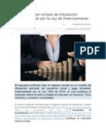 Nuevo Régimen Simple de Tributación Implementado Por La Ley de Financiamiento