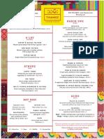Thamee menu