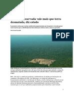 Floresta Preservada Vale Mais Que Terra Desmatada, Diz Estudo