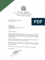 Carta de felicitación del presidente Danilo Medina a Laurentino Cortizo, presidente electo de la República de Panamá