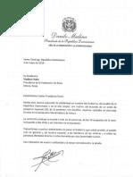 Carta de solidaridad del presidente Danilo Medina a Vladimir Putin, presidente de la Federación de Rusia, por víctimas de accidente aéreo