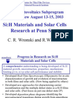 A-Si Materials and Solar Cells Research at Penn State