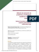 Método de Resolución de Problemas y Rendimiento Académico en Lógica Matemática