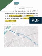 Documento Informativo Cambio en Fecha Visita Terreno y Punto de E