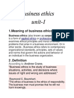 Business Ethics Unit 1