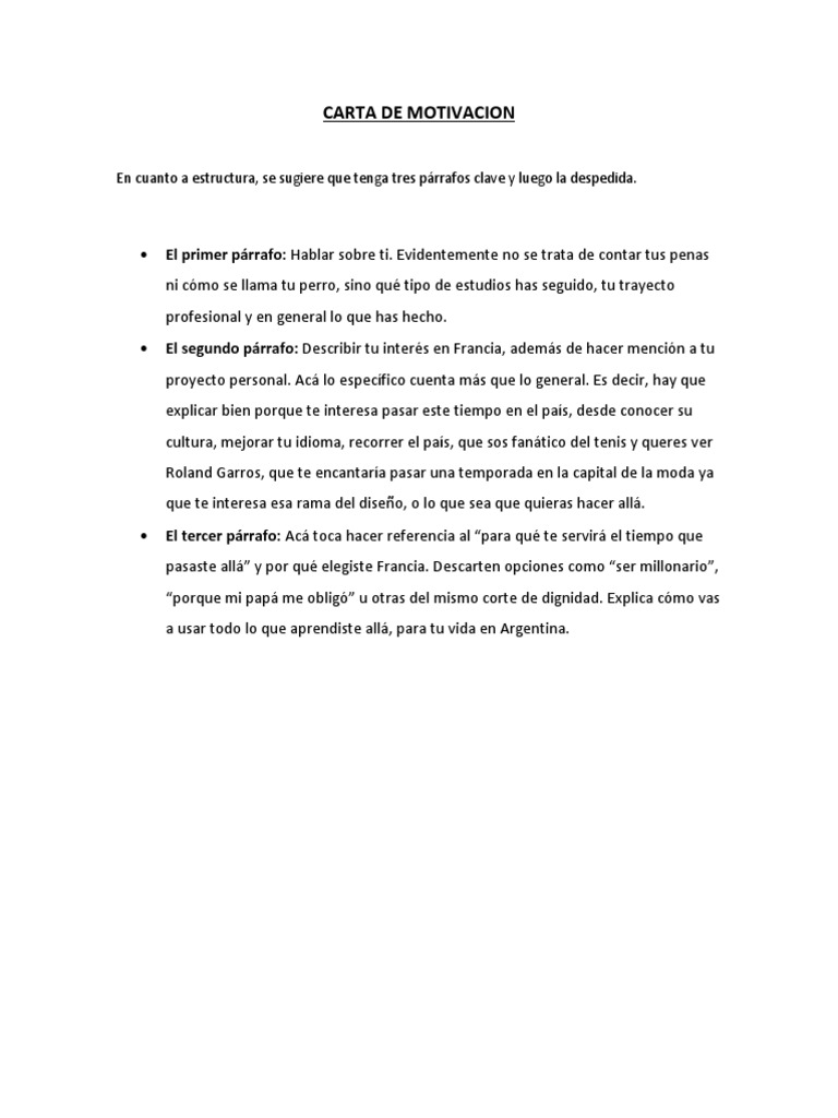 Ejemplo Carta De Motivacion Docx