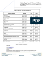 Methanol Product Specification