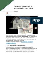 Cinco Renovables Para Toda La Energía Que Necesita Una Casa