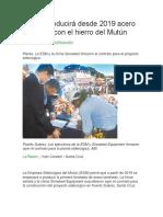 Bolivia Producirá Desde 2019 Acero Laminado Con El Hierro Del Mutún