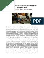Los Cinicos Griegos Como Preludio Anarquista - Carlos García Gual