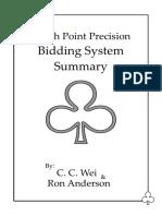 Match Point Precision Bidding System Summary