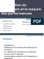 L'Évaluation Du Rendement Et La Mesure Des Performances
