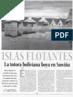 Islas flotantes. La totora boliviana boya en Sawiña (La Razón-Escape, 20-04-08, Bolivia)