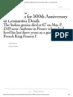 Celebrations for 500th Anniversary of Leonardo's Death – La Voce Di New York